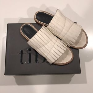 Tibi Jill Pleated Leather Slides (Size 38.5)